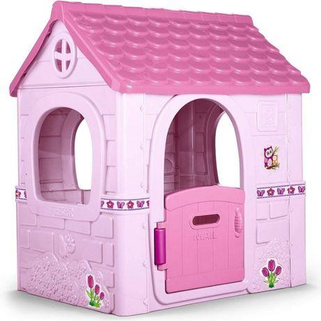 Różowy plastikowy domek dla dzieci do pokoju i ogrodu