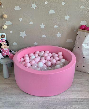 Сухой детский бассейн  с шариками розовый