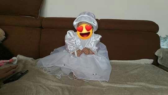 Sukienka. Komplet do chrztu i nie tylko,3 części,roz.80, gratis buciki