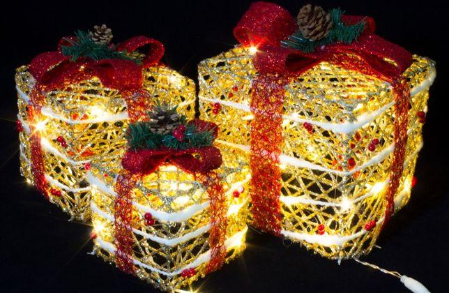 Новогодние светящиеся подарки гирлянда led елка санта