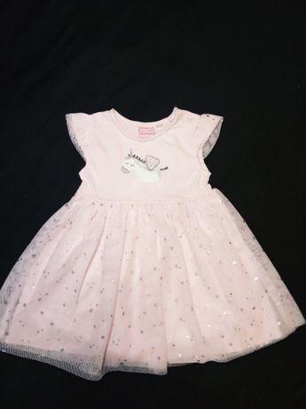 Платье Bluezoo на годик нарядное вышивка 100% х/б 1-2 г. юбка фатин