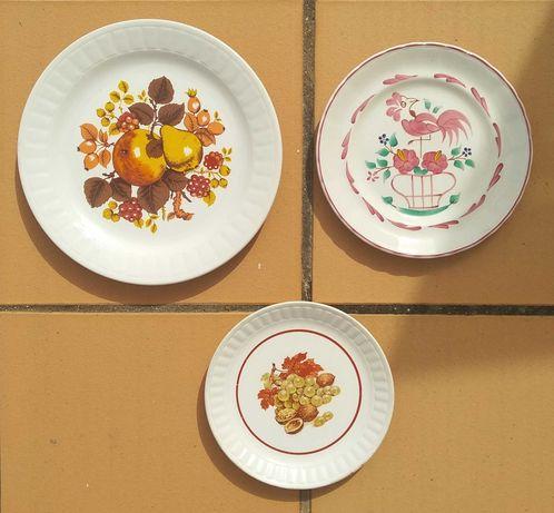 Conjunto de 3 pratos pintados à mão Vintage