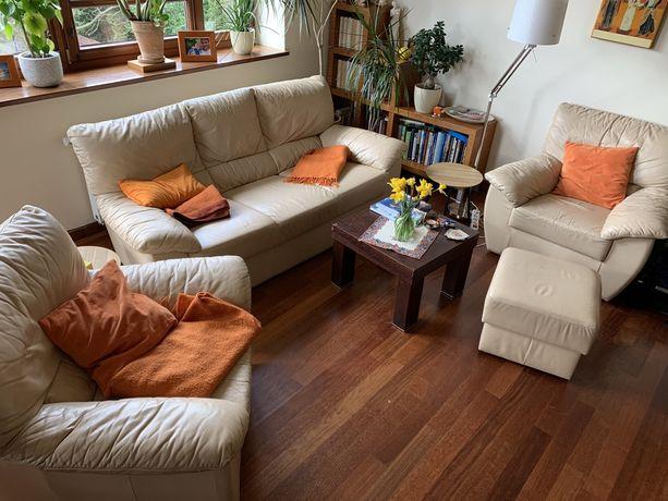 Komplet wypoczynkowy kanapa i fotele Kler kremowy skóra