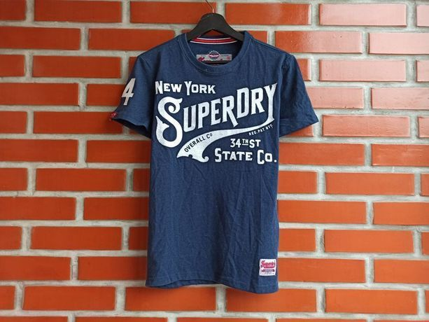 Superdry синяя мужская футболка размер S