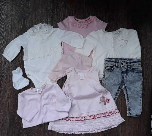 Комплект: боди, джинсы, платье, кофта, носки на новорожденную девочку