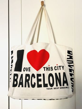 "Mala em lona com fecho ""I love Barcelona"""