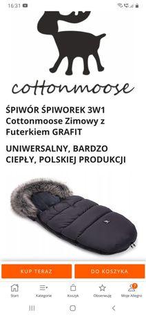 Śpiwór Śpiworek 3w1 Cottonmoose Zimowy z futerkiem