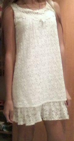 Платье белое кружевное состояние нового.
