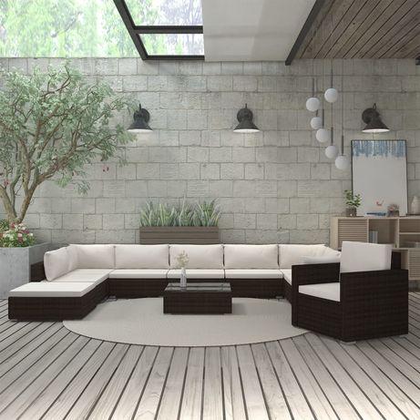 vidaXL 11 pcs conjunto lounge jardim c/ almofadões vime PE castanho 46789