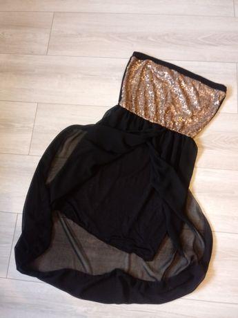 Sukienka czarna złota tiul cekiny M 38