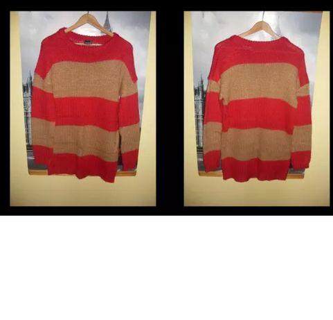 sweter damski 34 36 38 ciepły czerwony beżowy cubus paski splot