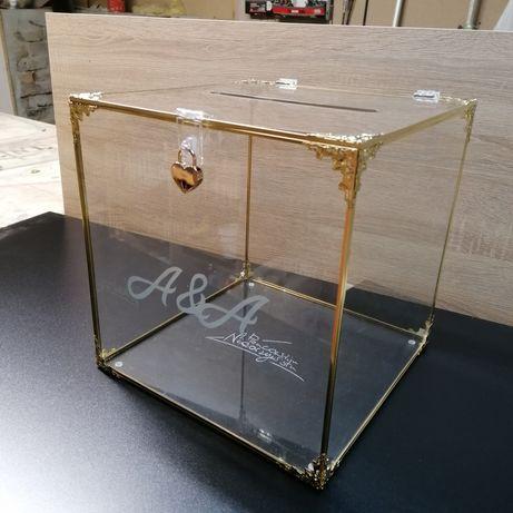Skarbona skrzynka pudełko na kartki koperty ślubne weselna szlane złot