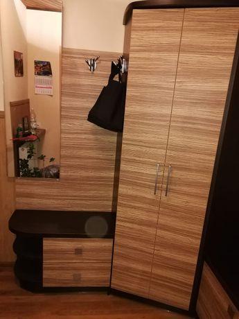 Garderoba z szafą, lustrem, szafkami.