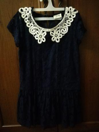 Темносиние платье, гипюровое