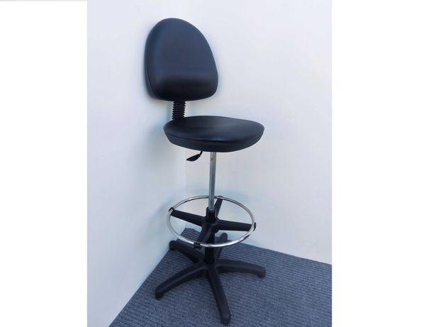 Krzesło robocze podwyższone Manutan ze ślizgami