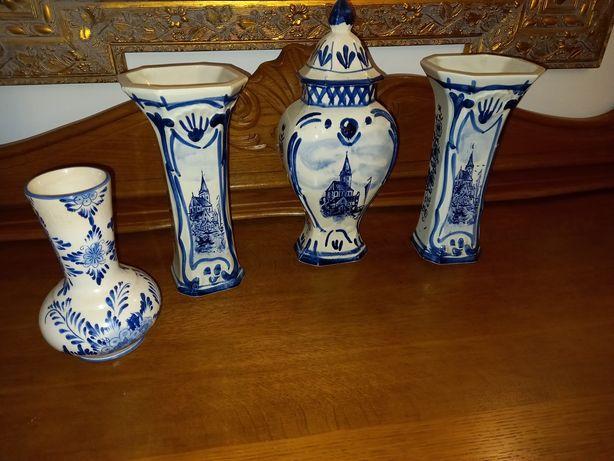 Wazony,porcelana,ręcznie malowane niebieskie