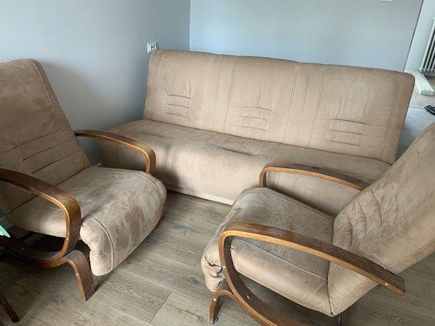 Rozkładana Sofa + 2 fotele Alcantara!