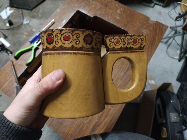 Stary drewniany kufel prl antyk