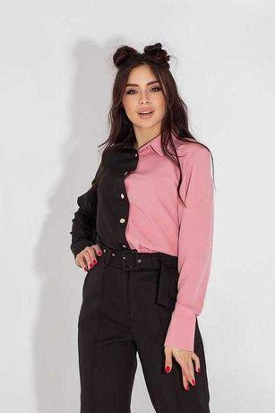 Рубашка комби черный+розовый (М)