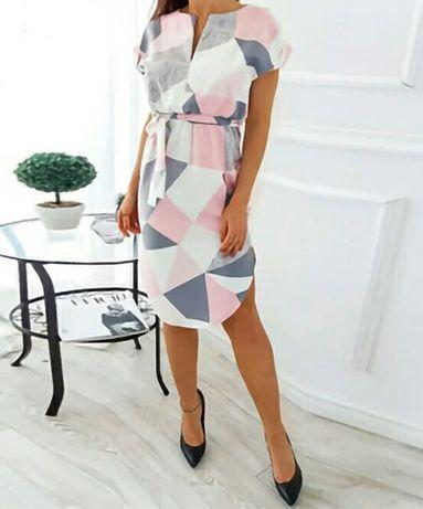Sukienka nowa XL geometryczny wzór żywe kolory