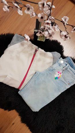 Cudny zestaw:) polatek EVERLAST spodnie dżinsowe jednorożec H&M 122