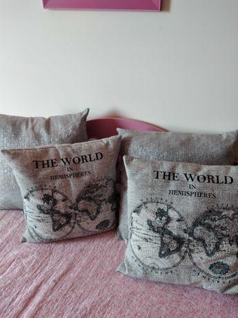 Conjunto 4 almofadas decorativas, como novas, com enchimento, cinza