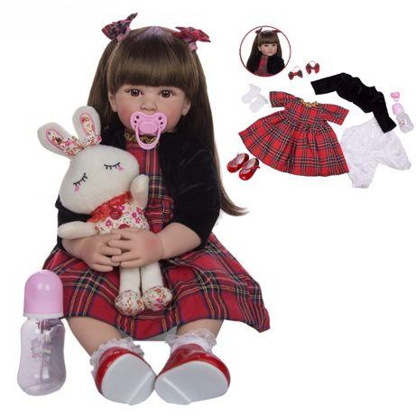 Кукла реборн девочка брюнетка 60 см в платье в клеточку