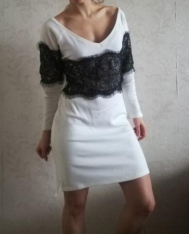 Sukienka Sweterkowa Perełka wstawki koronka Piękna Rozmiar L