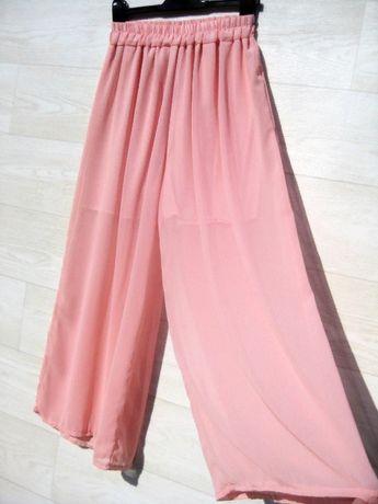 Нежные брюки штаны широкие свободные шифоновые летние розовые S