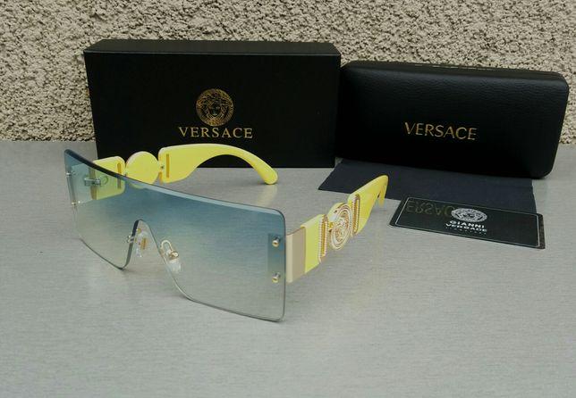 Versace женские очки маска голубой градиент дужки желтые