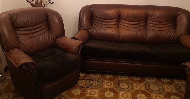 Conjunto de sofá cama de 3 lugares mais 2 individuais