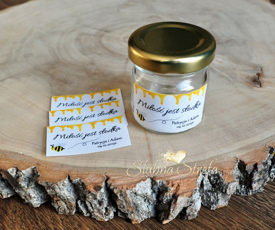 naklejki na miodek naklejki na słoiczki etykiety dla gości ślub wesele