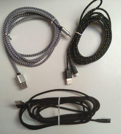 Cabo de dados ou carregamento com de 3 metros, USB para micro usb