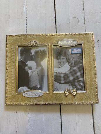 Металлическая рамка для фото подарок на свадьбу или 25-е свадьбы