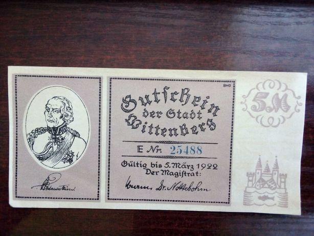 Banknot 5 marek Niemcy 1922