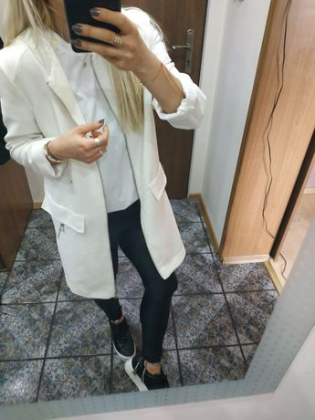 Nowy biały płaszczyk marynarka oversize elegancki 36 s