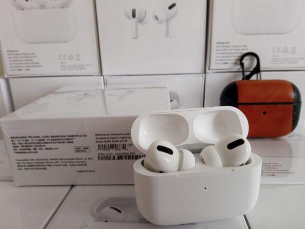 Airpods Pro люкс копия + кожаный чехол + зу беспроводное в подарок