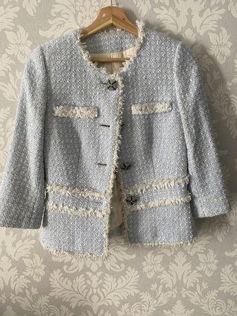 Женский жакет из твида/ голубой пиджак женский люкс