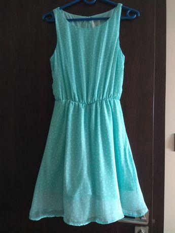 Sukienka cropp xs, błękitna w białe kropki
