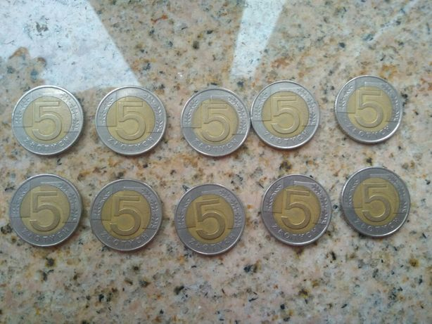 Monety pięciozłotówki 1994 r. 10 sztuk