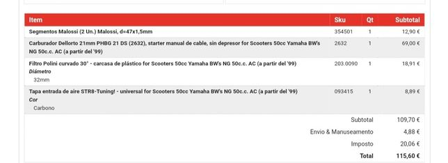 Peças Yamaha BWS NG