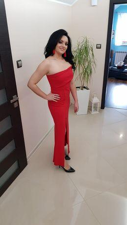 Suknia czerwona elegancka i sexi w 2 w 1