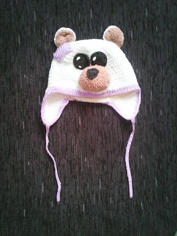Зимняя шапка теплая вязанная зверошапка собачка 1,5 - 2,5 года