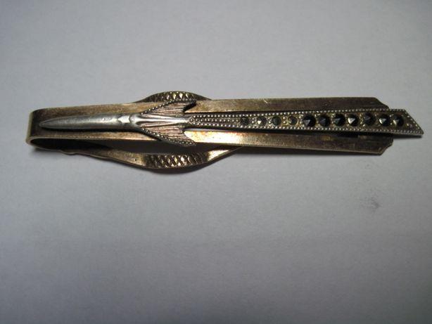 Скрепка для галстука позолота серебро.