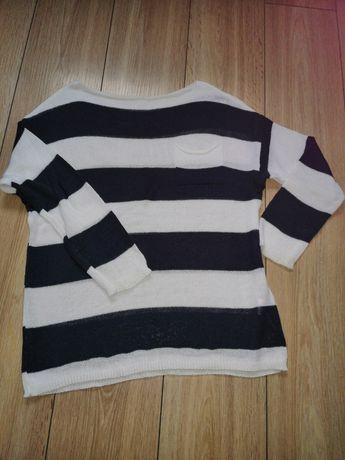 Sweter M w paski biało granatowe