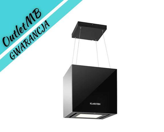 Okap kuchenny wyspowy czarny wyciąg lustro LED 600m³/h 45cm 070615