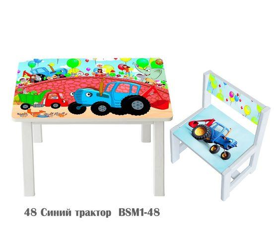 Комплект мебели стол и стул Синий Трактор