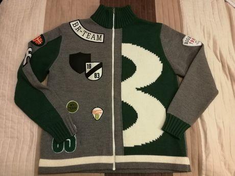 Sweter szaro zielony półgolf rozpinany L/XL