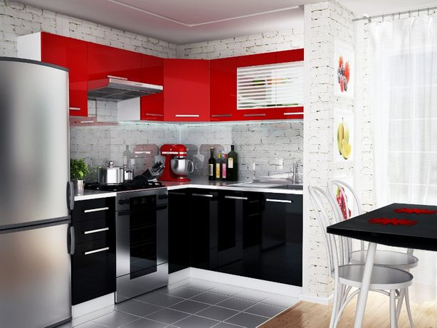 Narożny zestaw mebli/szafek kuchennych 3,6 m kuchnia lakier Małgosia01