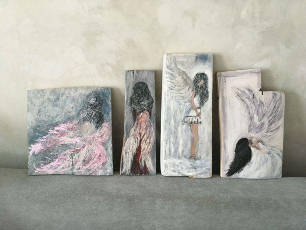 ANIOŁY malowane na drewnie, na prezent / dekoracja / NOWE CENY